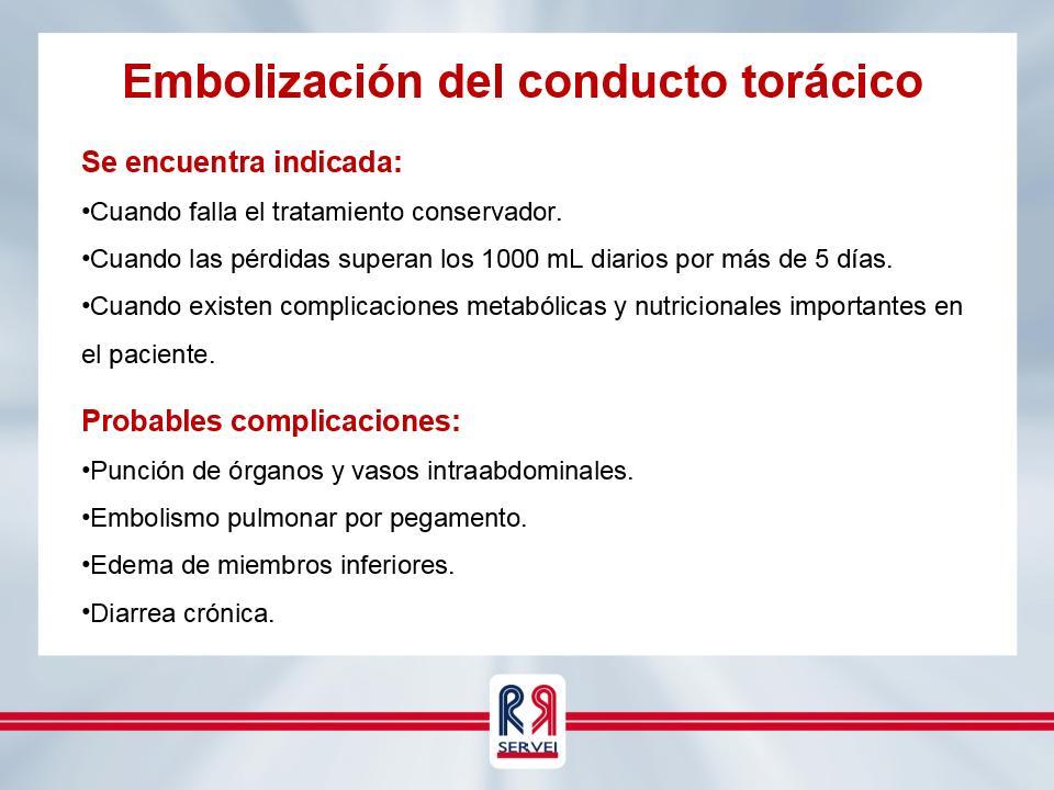 Embolización del conducto torácico | Servei